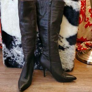 Aldo Dark Brown Stilleto Knee High Full Zip Boots
